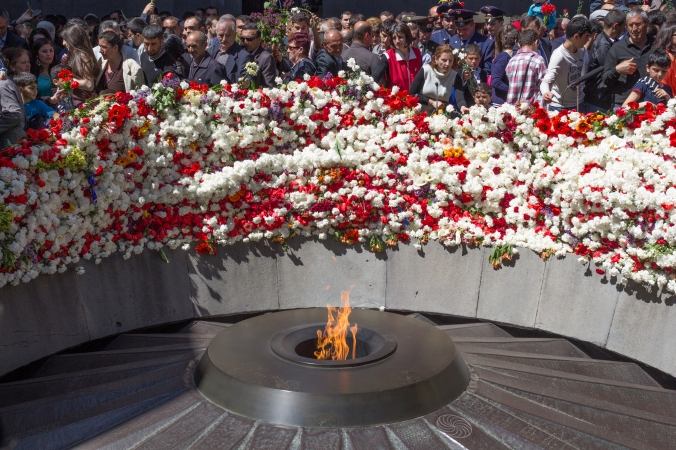 The eternal flame at the Tsitsernakaberd Memorial in Yerevan, Ar